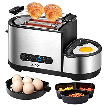 Aicok Toaster mit Brötchenaufsatz