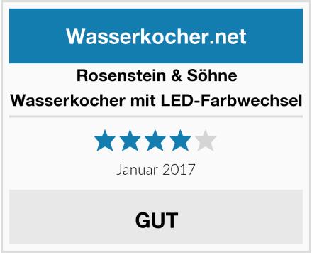 Rosenstein & Söhne Wasserkocher mit LED-Farbwechsel Test